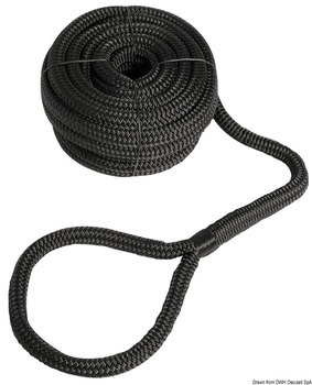 MOORING LINE WITH EYE, 12 mm, 7 m, BLACK